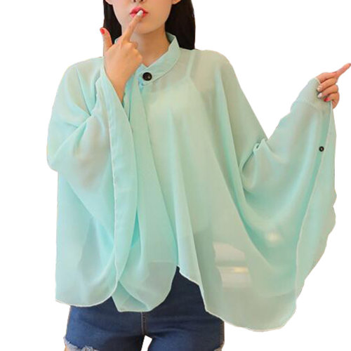 Sun Protective Clothing - Summer Chiffon Shawl Beach Coats Jackets-Light Green
