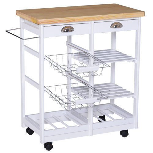 HOMCOM Rolling Kitchen Island Trolley Serving Cart Drawer Shelves Basket Wheels Wood/Steel White