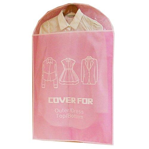 Set of 5 Storage Garment Shoulder Covers Suit Dust Covers Hanging Coat Pockets 60x90CM (Pink)