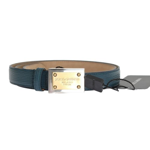 Dolce & Gabbana Blue Leather Gold Silver Buckle Belt