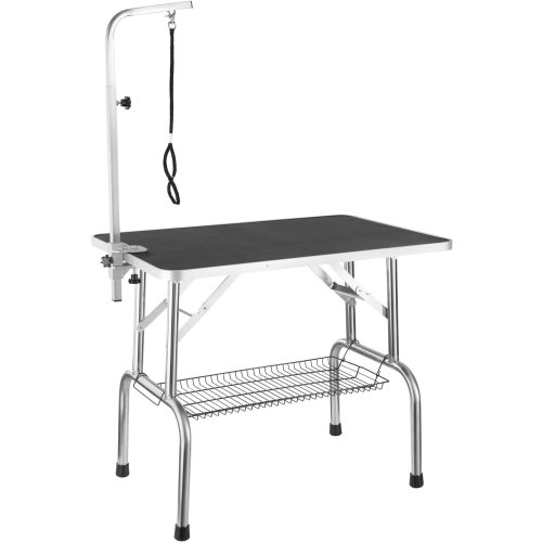Dog Grooming Table with Arm and Basket - black/silver