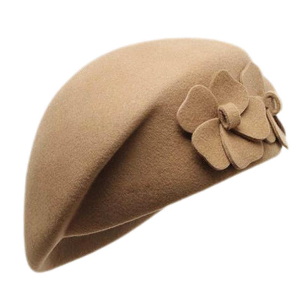 2c74a60f210b2 British Style Hat Female Fashion Retro Double Flower Stewardess Beret  Cap-Camel ...