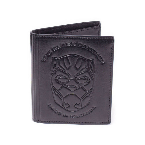 MARVEL COMICS Black Panther 'Made in Wakanda' Debossed Faux Leather Tri-fold Wallet, Male, Black (MW014601BPM)