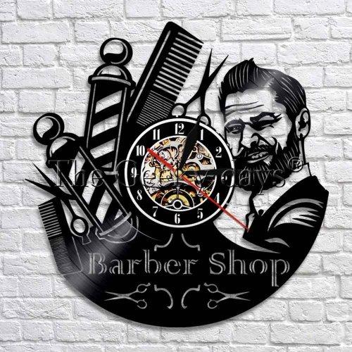Barber Shop Decorative Vinyl LED Wall Clock