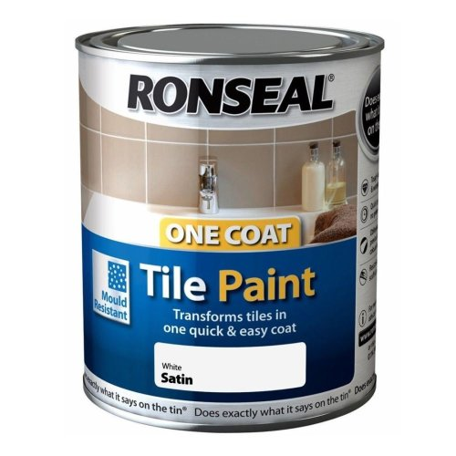 Ronseal One Coat Tile Paint 750ml - SATIN White