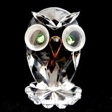 Cut Crystal Owl Bird Miniature Ornament