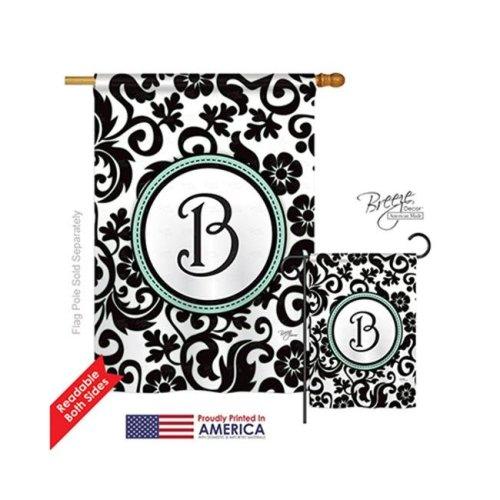 Breeze Decor 30054 Damask B Monogram 2-Sided Vertical Impression House Flag - 28 x 40 in.