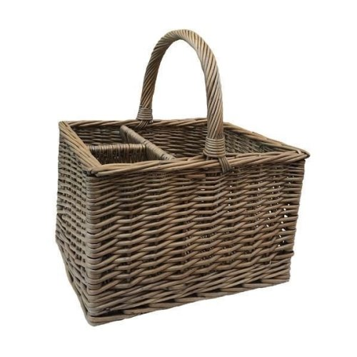 Antique Wash 2 Bottle Butchers Wicker Basket