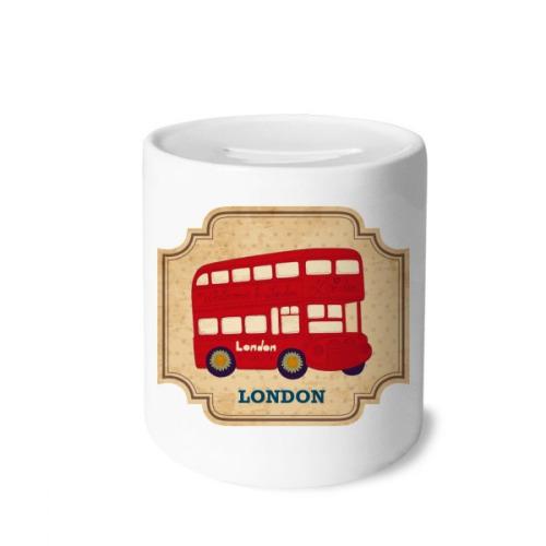 UK London Double-decker Bus Stamp Money Box Saving Banks Ceramic Coin Case Kids Adults