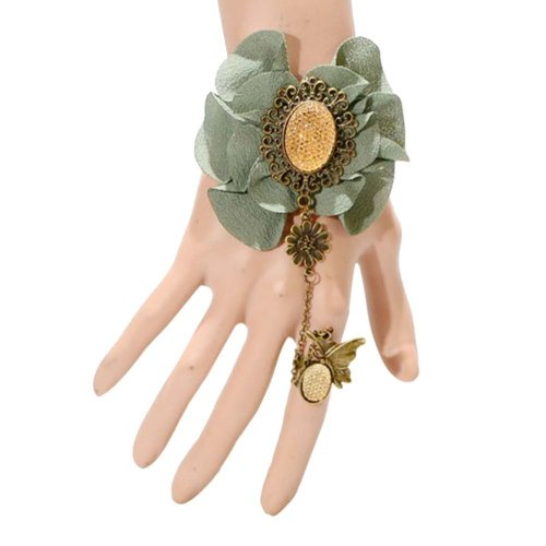 Complex Gulei Si Crystal Gemstone Bracelet Ring Jewelry, Green Butterfly