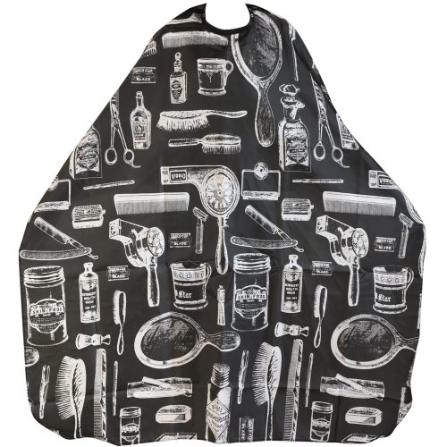 Trixes Black Printed Hairdressing Cape