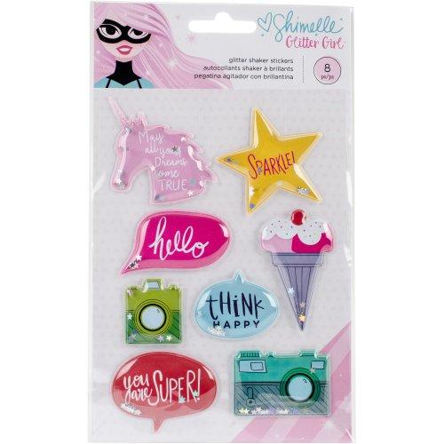 Shimelle Glitter Girl Shaker Stickers 8/Pkg-W/Glitter