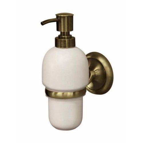 Retro Bathroom Antique Brass Wall Mounted Grip + Liquid Soap Ceramics Dispenser
