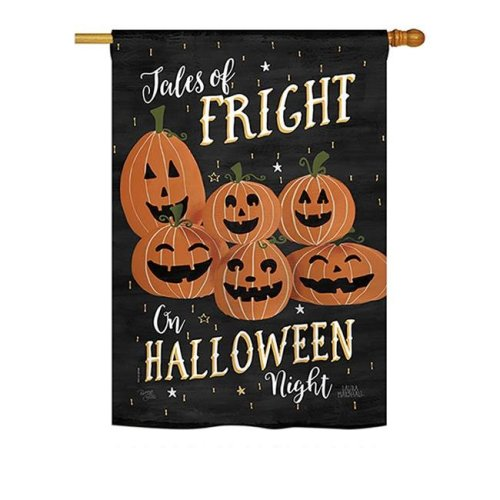 Breeze Decor BD-HO-H-112083-IP-BO-DS02-US 28 x 40 in. Seasonal Halloween Impressions Decorative Vertical House Flag - Fright on Halloween Night Fall