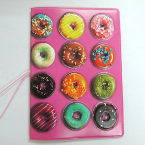 Doughnuts Pink Passport Cover With Ticket Pouch And Elastic Band