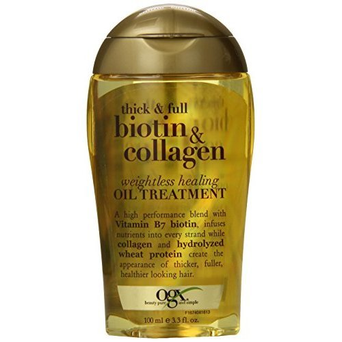 OGX Weightless Healing Oil Treatment Thick and Full Biotin and Collagen 3.3 oz Lightweight Volumizing Hair Oil All Hair Types