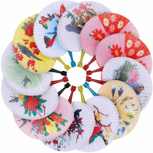 6e186506 Faburo 12pcs Paper Fans Chinese Style Folding Fans for Gift Wedding Parties  on OnBuy