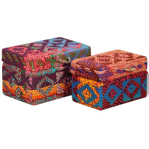 vidaXL Storage Boxes Set 2 Piece Chindi Fabric Multicolour Chest Organiser
