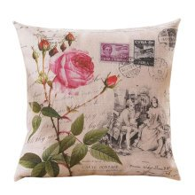 Concise Style Flowering Plant Throw Pillow Cushion Fashion Back Cushion Cover D