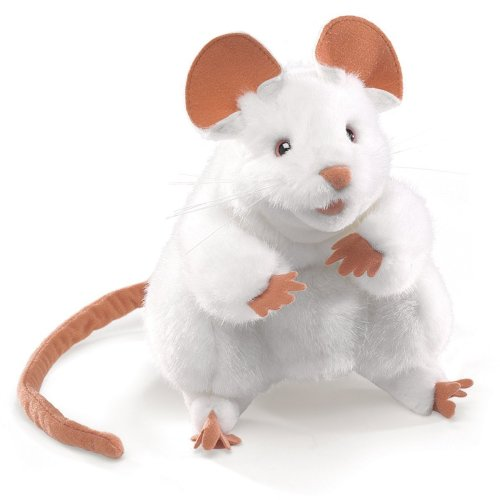 Hand Puppet - Folkmanis - Mouse White New Animals Soft Doll Plush Toys 2219