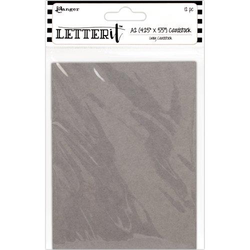 """Ranger Letter It Cardstock 4.25""""X5.5"""" 12/Pkg-Grey"""