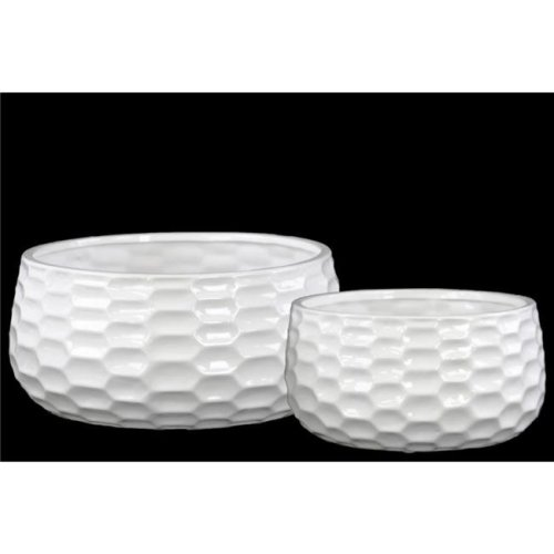Benzara BM131051 Round Bowl-Shaped Pot with Honey Comb Design - White - 11 x 11 x 5.25 in. - Set of 2