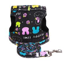 Size M for Puppy Leash Collar Black Rabbit Pattern Dogs Harness Supplies