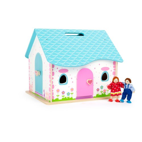 Small Foot 10737 Wooden House for Folding up, Integrated Carrying Handle in The roof for Easy Transport, incl. Two Bending Dolls and 12 Pieces of...