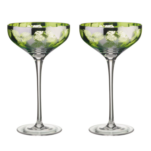 Artland Tropical Leaves Set of 2 Champagne Saucers