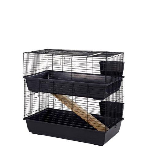 Little Friends Double Tier Rabbit Cage, 100cm, Blue/Black