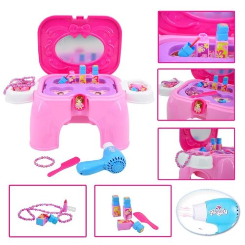 Dressing Vanity Table Playset with Mirror and Hairdryer - Handy 2in1 Carrycase and Stool includes Pretend Makeup and Jewellery