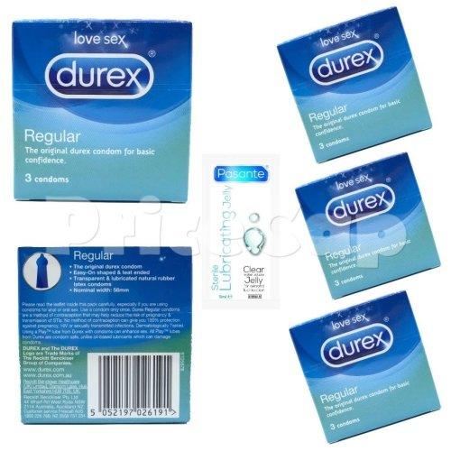 12 x Durex Regular Condoms (4 x Pack of 3 Condoms )