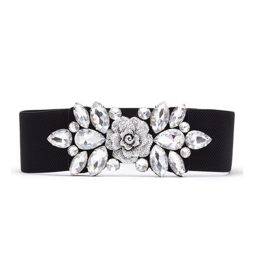 Women Black Elasticated Waist Belt with Diamante Rhinestones Buckle