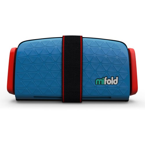 (Denim Blue) mifold Grab-And-Go Booster Cushion | Compact Booster Seat