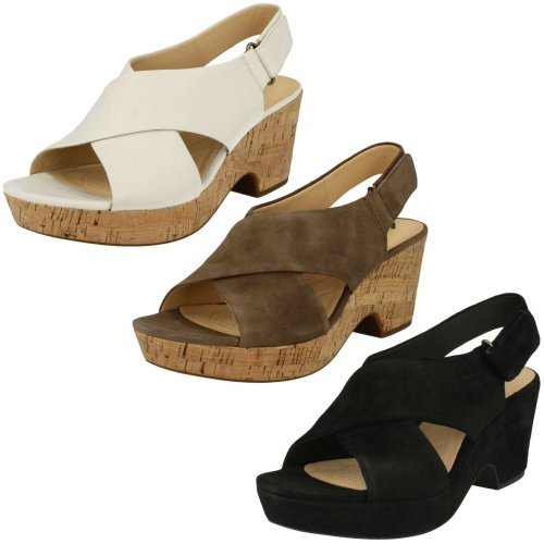 Ladies Clarks Slingback Scoop Wedge Sandals Maritsa Lara - D Fit