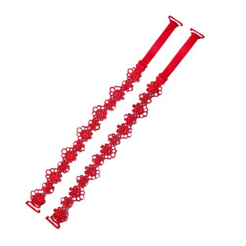 Women Summer Bra Strap Lace Flower Shoulder Strap Accessories(2 Pairs), Red