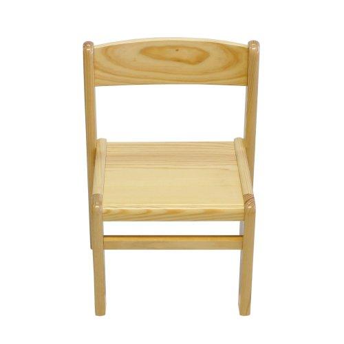 Obique Children's Furniture Solid Pine Wood Chair, Natural Varnished