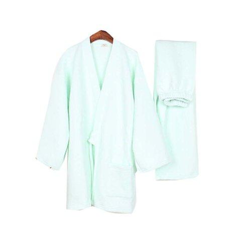 Women 's Kimono Warm Pajamas Thickening Pajamas Home Clothes,Mint Green