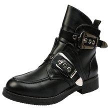 Bernadette Womens Low Heel Chunky Biker Ankle Boots