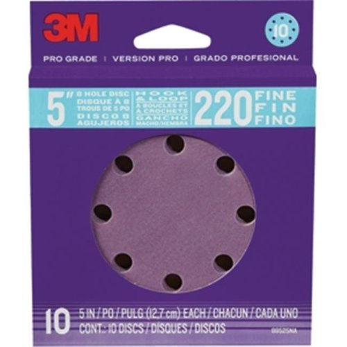 3M 88525NA-9-B 5 in. 220 Grit 8-hole Pro Grade Sanding Discs, 10 Pack