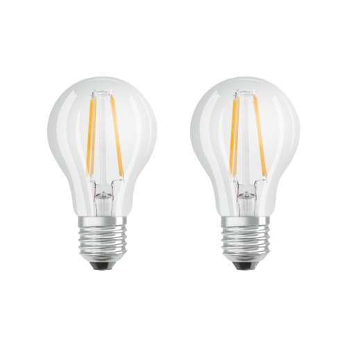Osram LED Base Classic A, in piston shape with E27 Socket, Non-Dimmable, 2700 K, Flam Colour Clear, Warm White, 7 W, Replaces 60 W, Pack of 2
