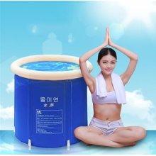 MILUCE Folding tub bath barrel adult tub inflatable bath, thicker plastic bucket bath tub. ( Size : L )