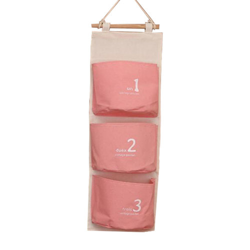 Wall Door Hanging Pocket Storage Bag Jewelry Organizer, Pink