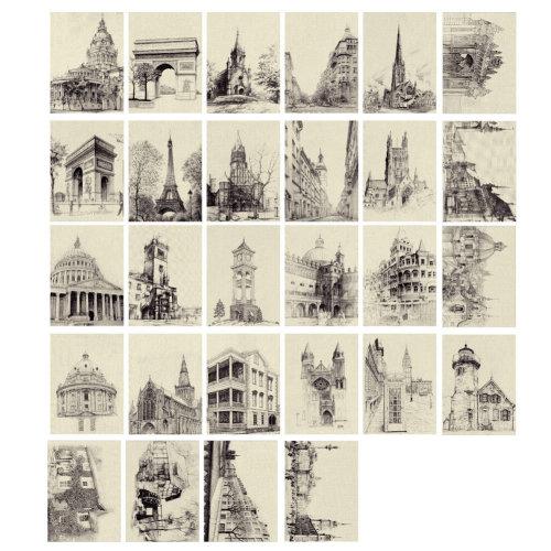 Artistic Beautiful 28 PCS 1 Set vintage Retro Postcards,architecture