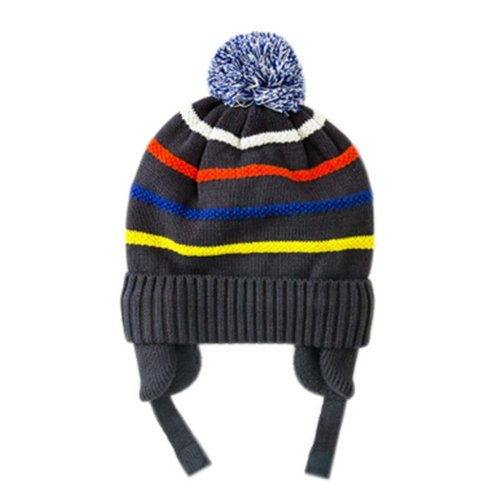 Warm Hat Knitted Hat Plus Velvet Ear Protection Hat GREY Gibs