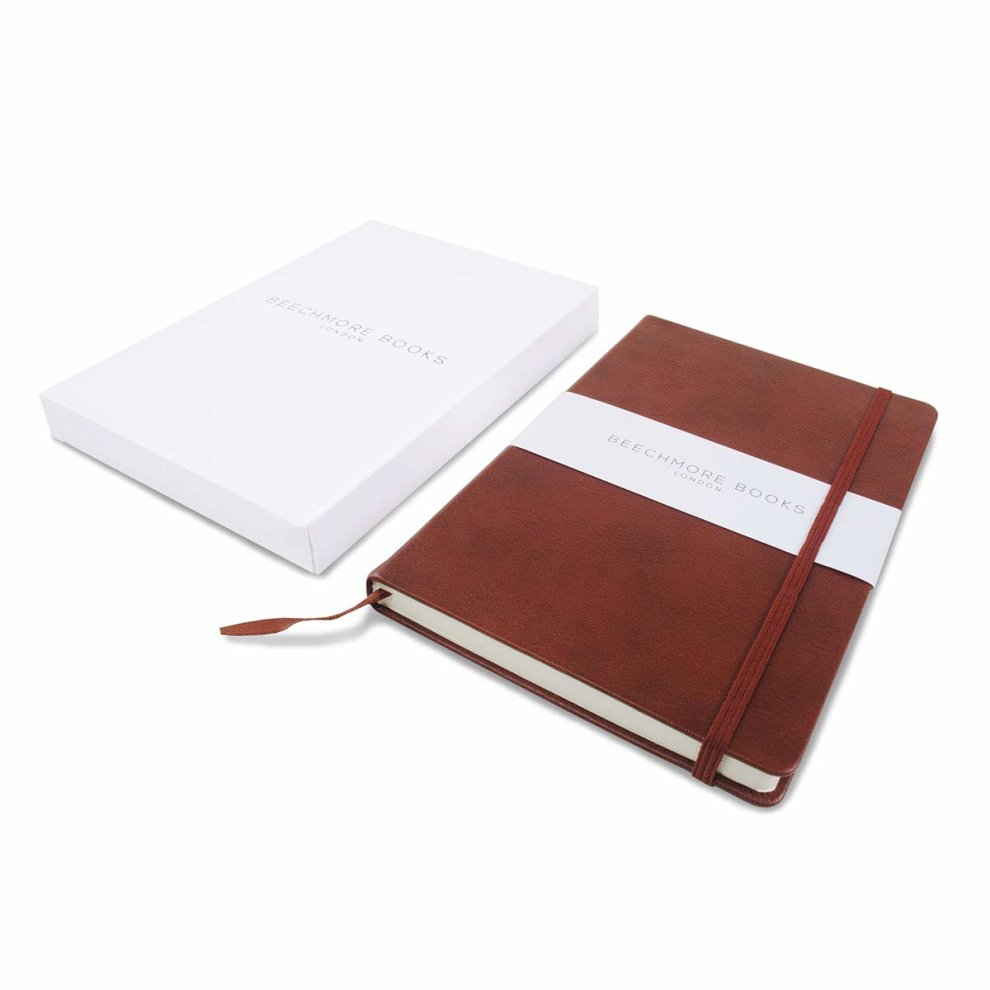 Dotted Bullet Journal/Notebook - Beechmore Books A5 Classic Notebook, 120  gsm cream paper, PU Leather, Hardcover Notebook in Gift Box (Dotted,