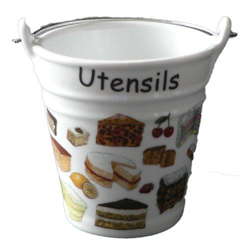 Cakes pattern utensil holder. Fun bucket shaped ceramic utensil pot