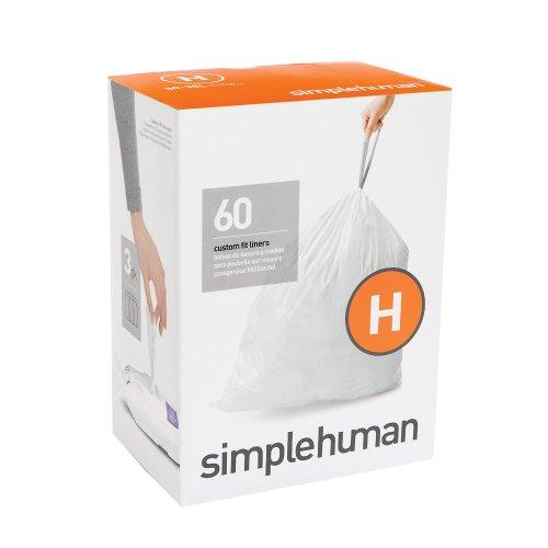 simplehuman Code H, Custom Fit Bin Liners, 60 Liners, White, 30-35 L