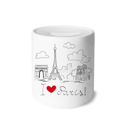 I Love Paris France Eiffel Tower Line Money Box Saving Banks Ceramic Coin Case Kids Adults
