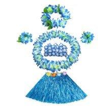 Kids Hawaiian Hula Grass Skirt Dance Wears Clothing Set, Blue